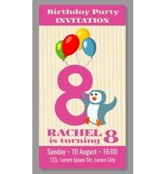 Kids birthday party cartoon animals invitation vector image