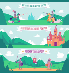 knight tournament banner set - medieval battle vector image