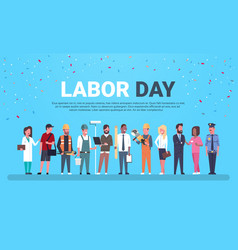 Labor day poster with people different vector
