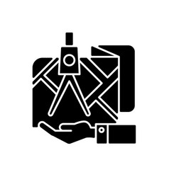 Land owning black glyph icon vector