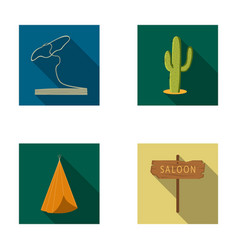 Lasso cactus wigwam saloon index wild west set vector