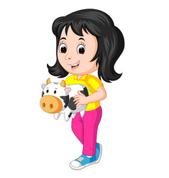 little girl holding cow bank vector image