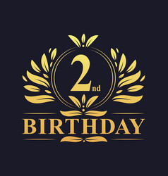 Luxury 2nd birthday logo 2 years celebration vector