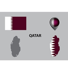 Map of Qatar and symbol vector image
