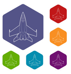 Military jet icons hexahedron vector