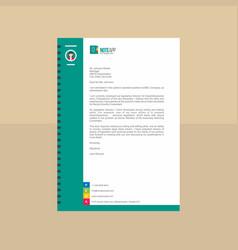 modern teal and white app letterhead vector image