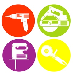 monochrome icon set with hand electric tools vector image