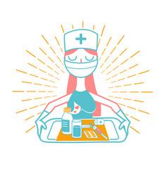 nurse icon linear style vector image