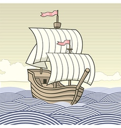 Old time sailing ship vector