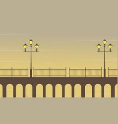 On bridge street lamp scenery vector