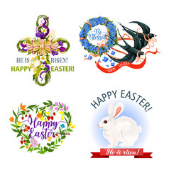 Paschal easter holiday icons and symbols vector