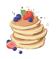 Pile delicious pancakes with berries topping vector