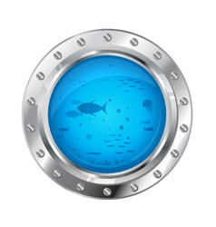 Porthole with Underwater Life vector