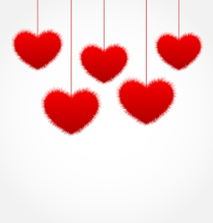 Red hanging hearts for Valentines Day with copy vector