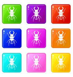 Rhinoceros beetle set 9 vector