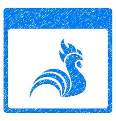 Rooster Calendar Page Grainy Texture Icon vector image