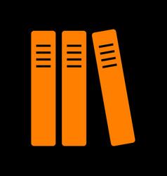 row of binders office folders icon orange icon vector image