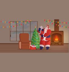 Santa claus visit flat old vector