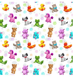 seamless pattern with funny textile stuffed toys vector image