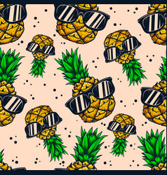 seamless pattern with pineapples with sunglasses vector image