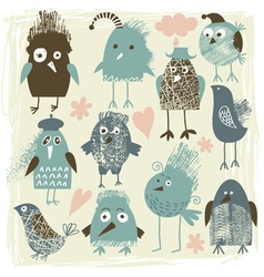 Set crazy birds vector