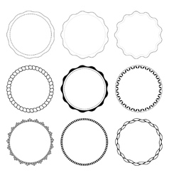 Set of 9 circle design frames vector image