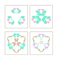 Set of four colored circular patterned elements vector image