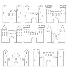 Set of medieval castles vector