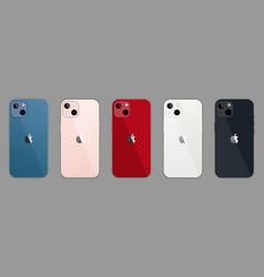 Set of mockup iphone 13 mini all colors vector