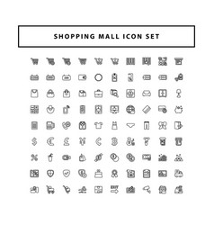 shopping and mall icon set with outline style vector image