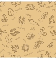 Spice seamless pattern in beige colour vector