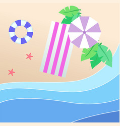 summer beach purple umbrella beach mat swimming ti vector image