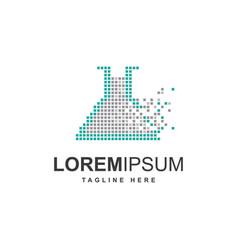 test tube laboratory with pixel symbol logo design vector image