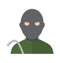 Thief man in hood danger person in black mask vector