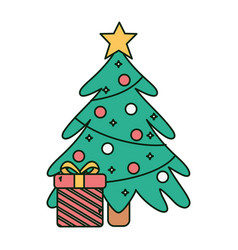 tree gift star lights balls snow merry christmas vector image