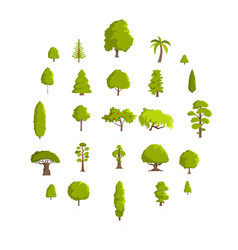 Tree icons set flat style vector