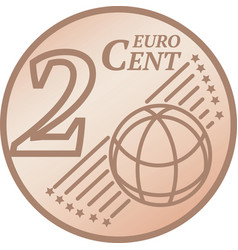 Two euro cent coin vector