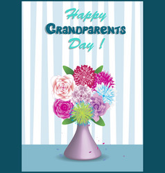 vase with bouquet of beautiful colorful flowers vector image