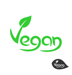 vegan text logo with green leaf on v letter plant vector image