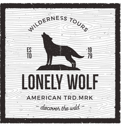 vintage adventure card - lonely wolf quote vector image