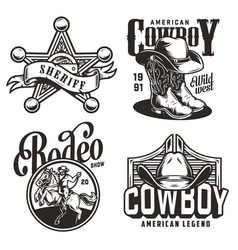 vintage monochrome wild west emblems vector image