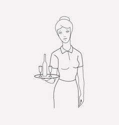 waitress icon line element of vector image