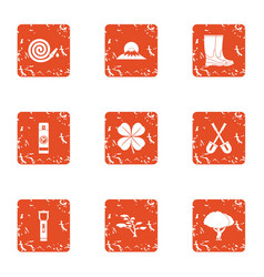Walk the area icons set grunge style vector
