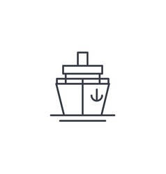 Yacht boat cruise ship thin line icon linear vector