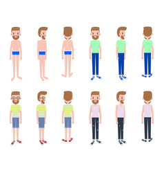 young guy with several outfits from all sides vector image