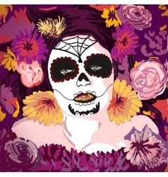 Young pretty Mexican Sugar Skull girl y with vector image