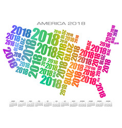 2018 america calendar made out of numbers vector image vector image