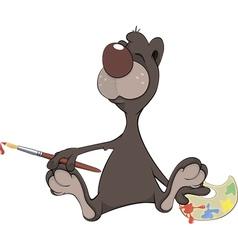 A brown bear the artist Cartoon vector image vector image