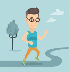 Caucasian man running vector