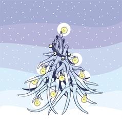 Christmas tree antlers vector